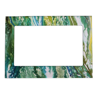Colorful abstract green blue turquoise waterfall magnetic frame