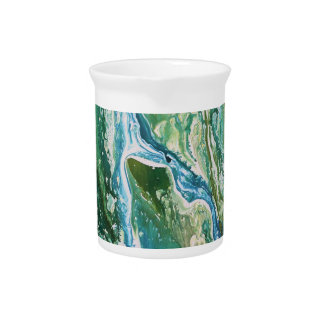 Colorful abstract green blue turquoise waterfall pitcher