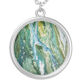 Colorful abstract green blue turquoise waterfall silver plated necklace