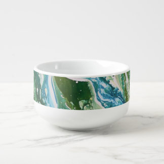 Colorful abstract green blue turquoise waterfall soup mug