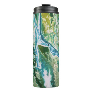 Colorful abstract green blue turquoise waterfall thermal tumbler