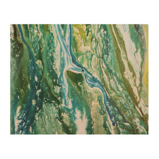 Colorful abstract green blue turquoise waterfall wood wall decor