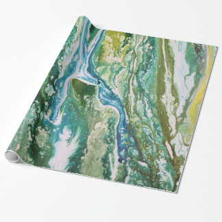 Colorful abstract green blue turquoise waterfall wrapping paper
