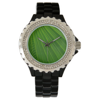 Colorful abstract green palm leaf wristwatches