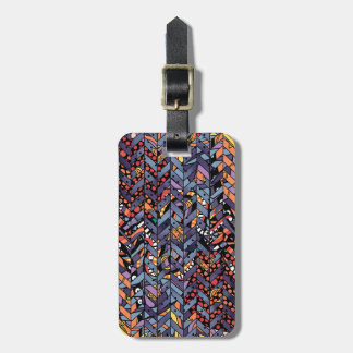Colorful Abstract Herringbone Zig Zags Pattern Luggage Tag