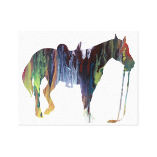 Colorful abstract horse silhouette canvas print