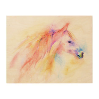 Colorful Abstract Horse Wood Wall Decor