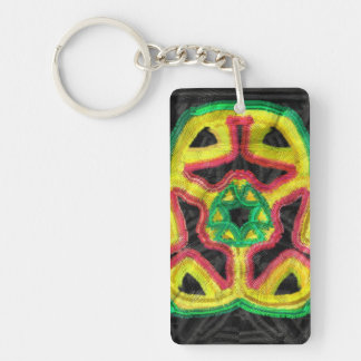Colorful abstract kaleidoscope Double-Sided rectangular acrylic key ring