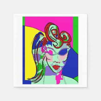 COLORFUL ABSTRACT LADY PORTRAIT NAPKINS PAPER NAPKIN