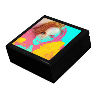 Colorful abstract lady tile gift box - Intense