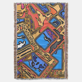 Colorful Abstract Layers Throw Blanket