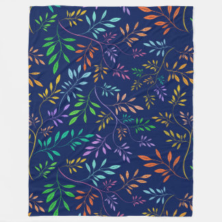 Colorful Abstract Leafs Pattern Fleece Blanket