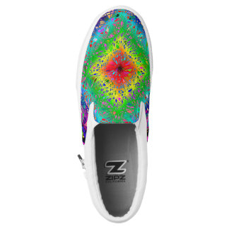 Colorful abstract leaves and crystals zipz printed shoes