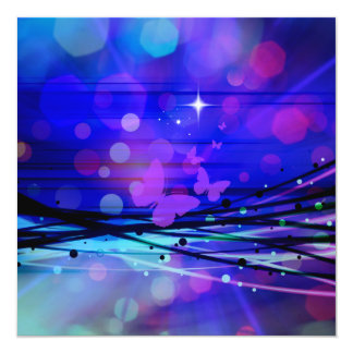 Colorful Abstract Light Rays Butterflies Bubbles 13 Cm X 13 Cm Square Invitation Card