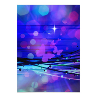 Colorful Abstract Light Rays Butterflies Bubbles 13 Cm X 18 Cm Invitation Card