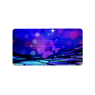 Colorful Abstract Light Rays Butterflies Bubbles Address Label