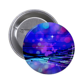 Colorful Abstract Light Rays Butterflies Bubbles Pinback Button