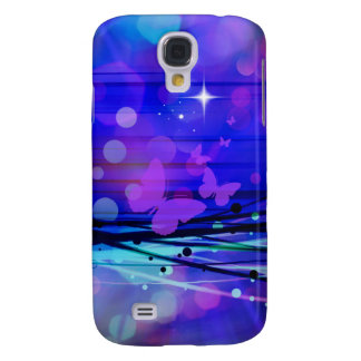 Colorful Abstract Light Rays Butterflies Bubbles Galaxy S4 Cases