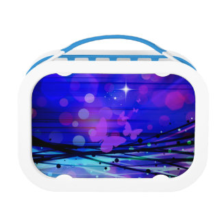 Colorful Abstract Light Rays Butterflies Bubbles Lunchbox