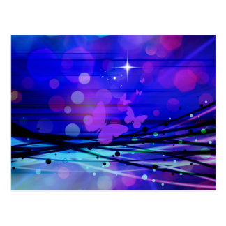 Colorful Abstract Light Rays Butterflies Bubbles Postcard