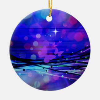 Colorful Abstract Light Rays Butterflies Bubbles Round Ceramic Decoration