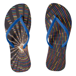 Colorful Abstract Lights Flip Flops Thongs