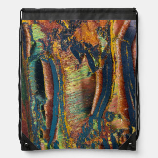 Colorful abstract of a Tiger eye Drawstring Bag