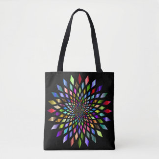 Colorful Abstract on Black Tote