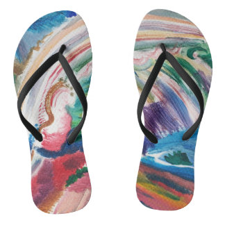 colorful abstract painting flipflops thongs