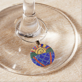 Colorful Abstract Palm Trees Beach Sunset Wine Glass Charms