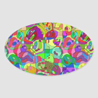 colorful abstract pattern oval Sticker
