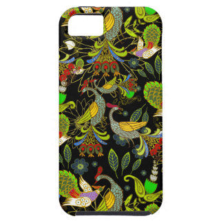 Colorful Abstract Peacocks On Black Background Tough iPhone 5 Case