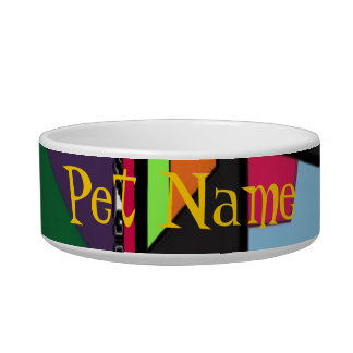 Colorful Abstract Pet Name Bowl Cat Food Bowl
