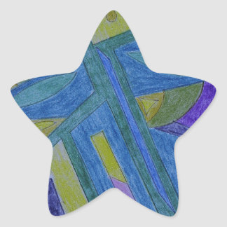 Colorful, abstract primitive art star stickers