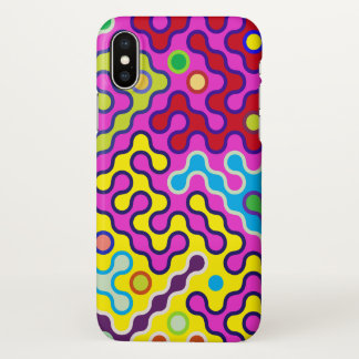 Colorful Abstract Psychedelic Pop Art Pattern iPhone X Case