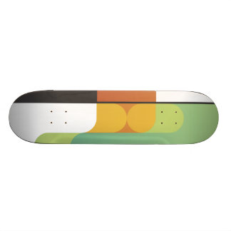 colorful abstract retro art linear geometric green skate boards