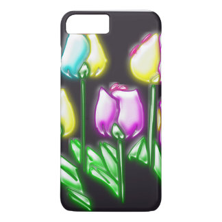 Colorful Abstract Retro Flowers Black Background iPhone 7 Plus Case