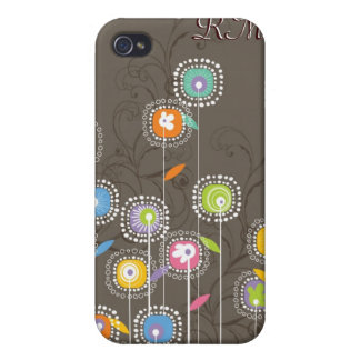 Colorful Abstract Retro Flowers Brown Background Covers For iPhone 4