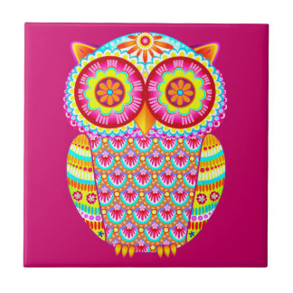 Colorful Abstract Retro Owl Ceramic Tile
