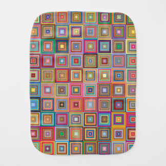 Colorful Abstract Retro Squares Burp Cloth