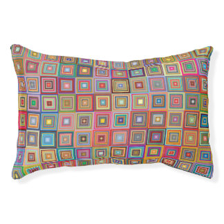 Colorful Abstract Retro Squares Pet Bed