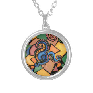 Colorful Abstract Silver Plated Necklace