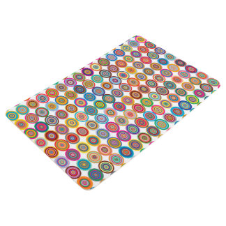 Colorful Abstract Small Concentric Circles Art Floor Mat