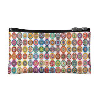 Colorful Abstract Small Concentric Circles Art Makeup Bag