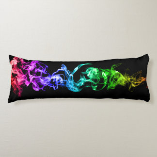 Colorful Abstract Smoke - A Rainbow in the Dark Body Cushion