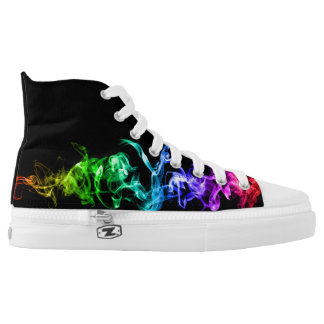 Colorful Abstract Smoke - A Rainbow in the Dark Printed Shoes