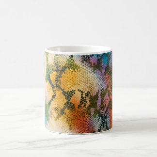 Colorful abstract snake skin pattern morphing mug
