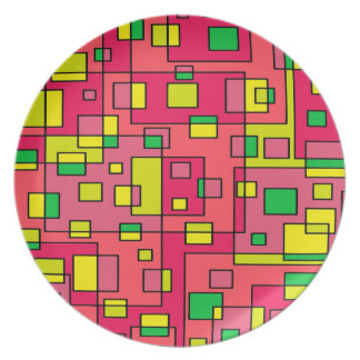 Colorful Abstract Square-Red Yello Green Backgroun Plate