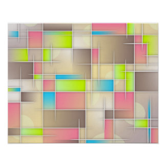 Colorful Abstract Squares Geometric Pattern Poster
