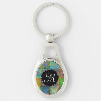 Colorful abstract squares Silver-Colored oval key ring